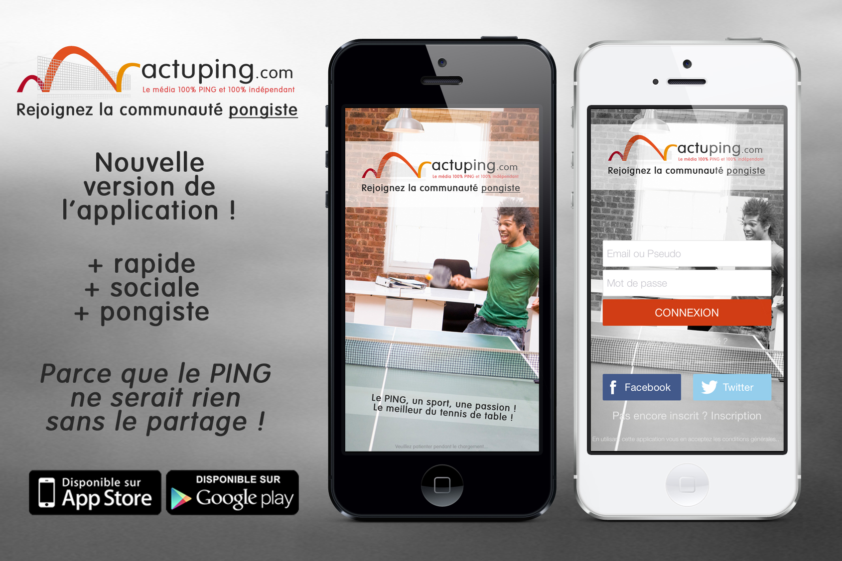 Nouvelle version de l'application Actuping