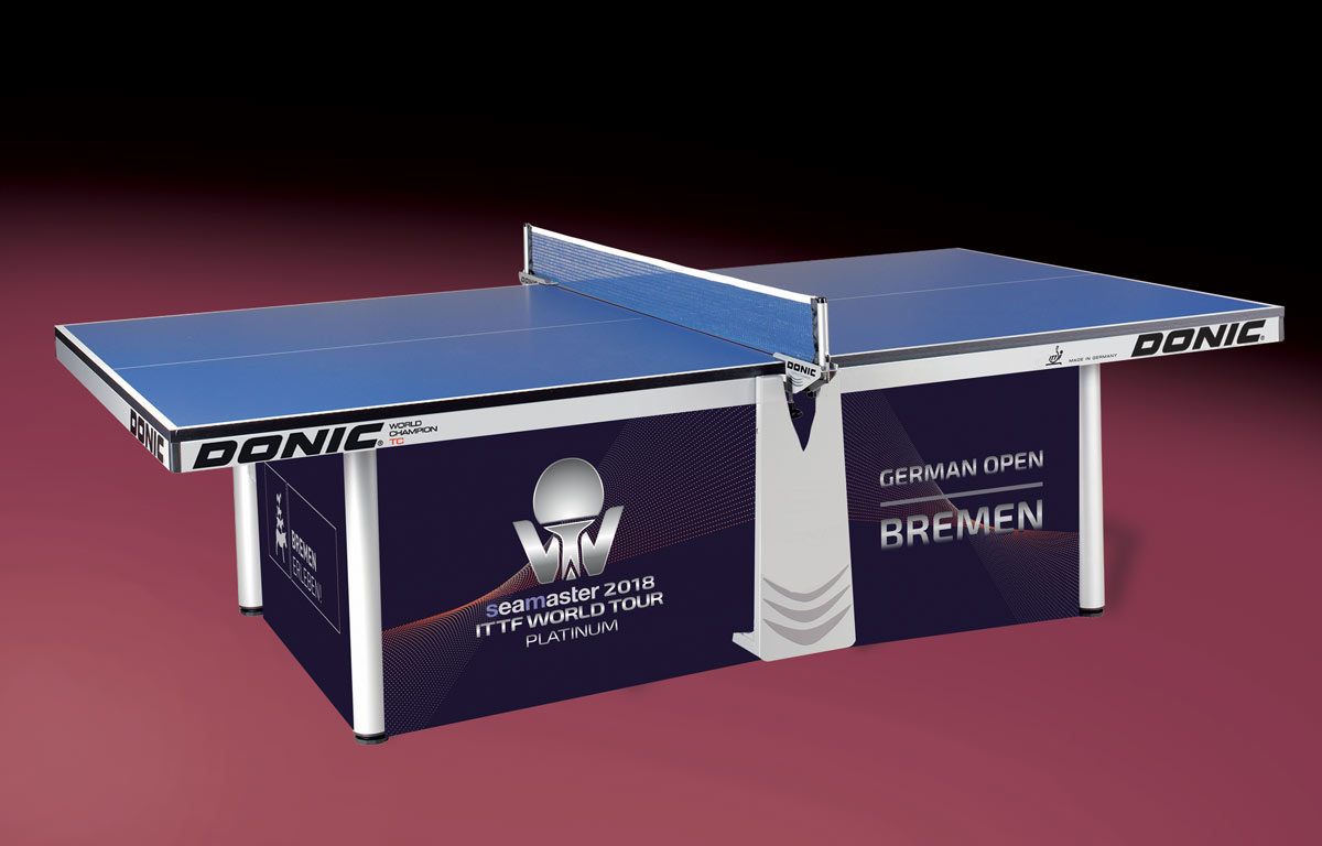 La table DONIC World Champion TC customisée pour l'Open d'Allemagne 2018