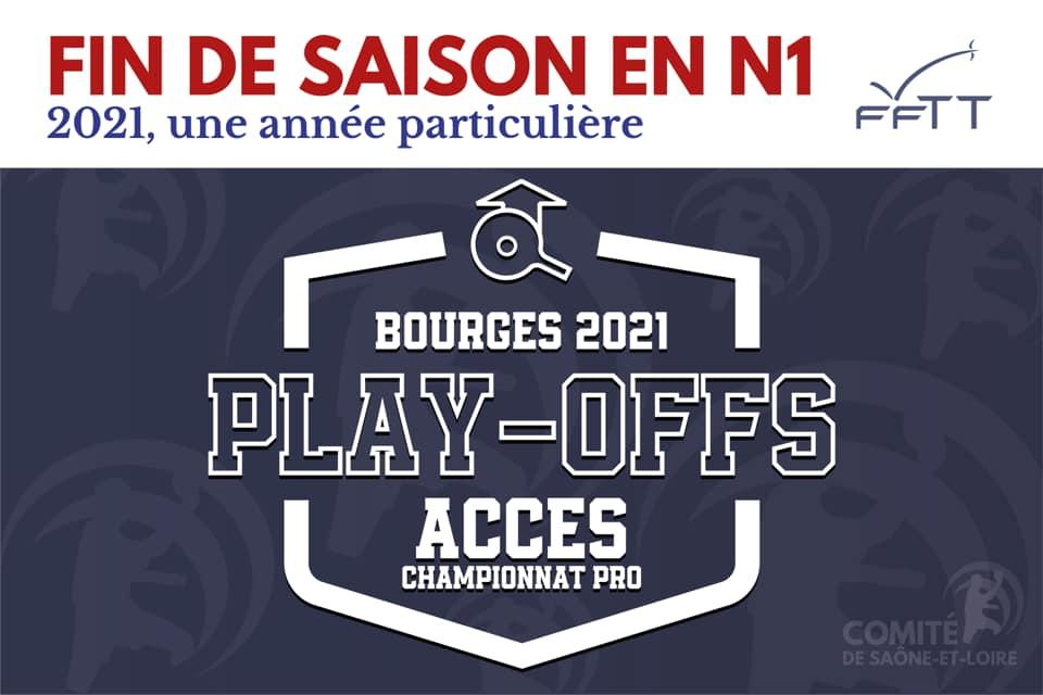Affiche des Play-Off Nationale 1 - 2021 Facebook Saône et Loire Tennis de Table